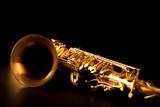 Tenor sax golden saxophone macro selective focus