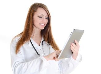 female student doctor working with digital tablet