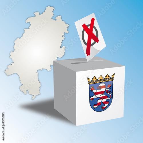 Landtagswahl Hessen, Wahlurne, Stimmzettel