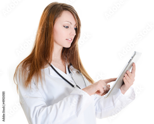 female nurse working with digital tablet
