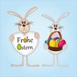 Frohe Ostern - Osterhasen - Osterei - Herz