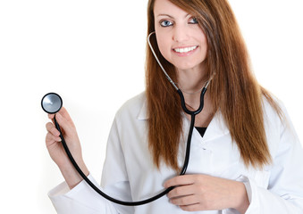 student female nurse with stethoscope at work