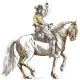 cowboy on horseback - hand drawing into vector
