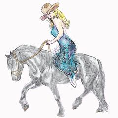Beauty with long hair riding a horse - hand drawing into vector