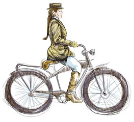 Weighted Lady on Bike - hand drawing into vector