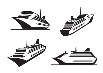 Cruise ships in perspective - vector illustration