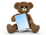 Teddy Bär mitt Tablet PC