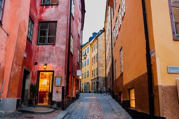 A Narrow Cobbled Street and Colourful Buildings in Stockholm