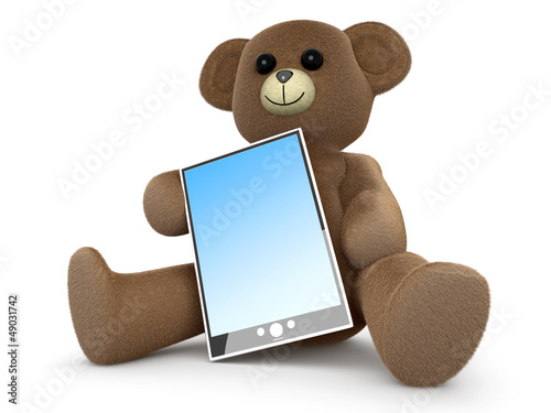 Teddy Bär mitt Tablet PC