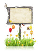 Empty wooden board with Easter motives on white background