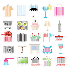 set of stylized bar-codes on various themes