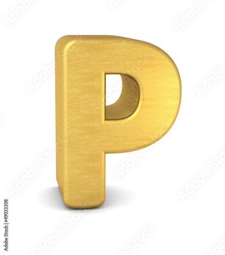 buchstabe letter P gold vertikal