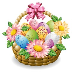 Easter Eggs and Flowers on Basket-Uova di Pasqua in Cestino