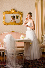Bride and pink room