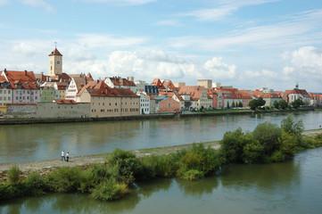 Panorama of old beautiful town Regensburg ,Bavaria,Germany