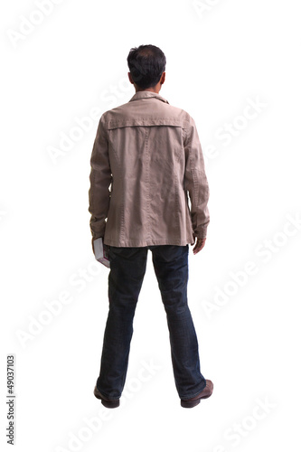 rear view of asian man forty year old isolated on white