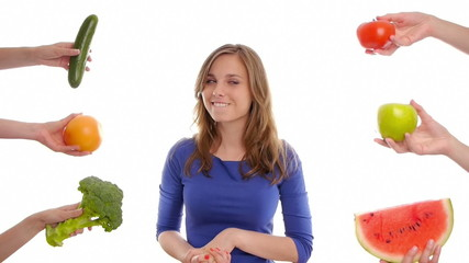 woman deciding to eat healthy