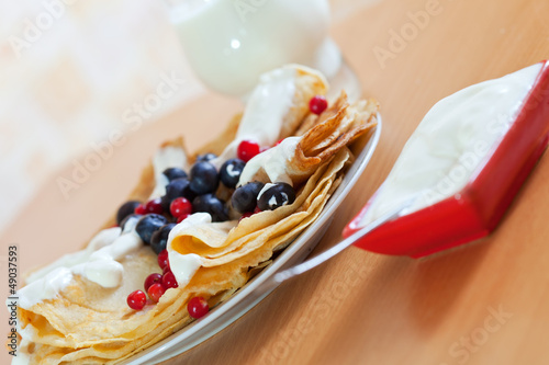 delicious sweet  pancakes with berries