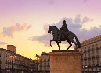 Statue on Sol plaza in Madrid Spain