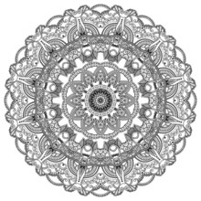 Black lace circle on white background. Ornamental mandala