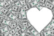Heart symbol from money