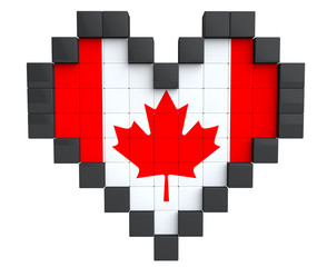 Pixel Heart as Canada Flag