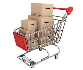 Shopping Cart with stack of boxes