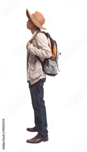 side view of backpacker standing on white