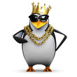 Penguin rapper with gold crown