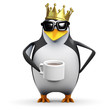 Penguin in gold crown drinks coffee
