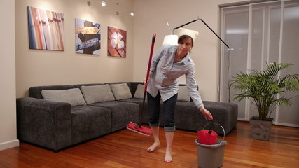cleaning lady living room mop