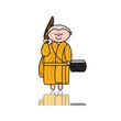 hand-drawn cartoon character happy buddhist monk