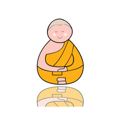 hand-drawn cartoon character happy buddhist monk
