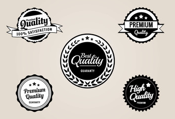 Premium QualiGuarantee Labels and Badges - retro vintage style