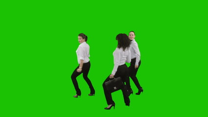Business women dance. Green screen.