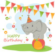 Colorful illustration with cute elephant and garland.