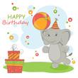 Happy Birthday card with cute little  elephant