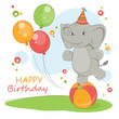 Happy Birthday card with cute elephant .