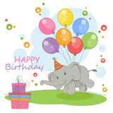 Cute elephant  flying on a balloons.Happy Birthday card