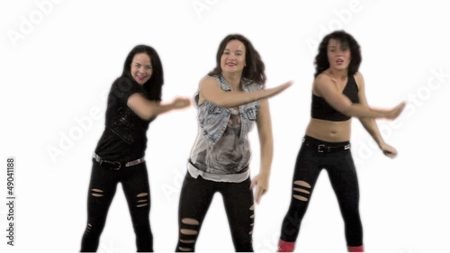 Three women dance. White background