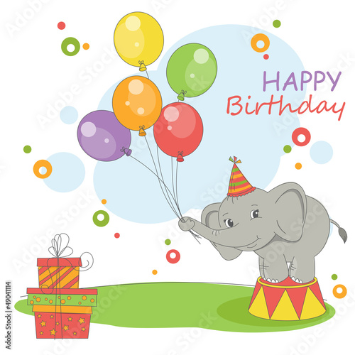 Cute little elephant with balloons. Happy Birthday card .