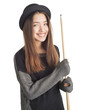 Attractive young woman holding billiard cue