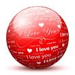 Kugel, I Love You, Text, Herz, Ich liebe Dich, Rot, Design, 3D