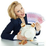 Woman is happy to save money in piggy bank for shopping