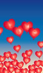 palloncini a cuore nel cielo
