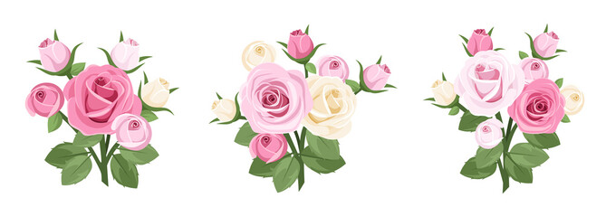 Set of roses branches. Vector illustration.