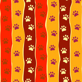 Cats or dogs paw print and stripes seamless pattern, vector