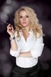 Sexy smoking beautiful woman cigar closeup studio shot