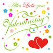 Alles Liebe zum Valentinstag, Grußkarte, Vorlage, Herz, Blumen