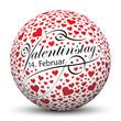 Valentinstag - 14. Februar, Kugel, Herzchen, Rot, Weiss, Vektor